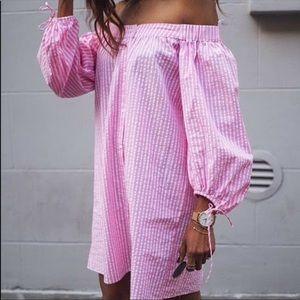 Zara seersucker pink stripe off shoulder the dress